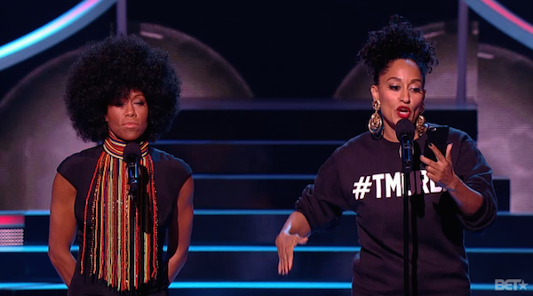 Queen Floetic (@ReginaKing)   & T-Murda (@TraceeEllisRoss)  take the BET Black Girls Rock Stage. (Photo Courtesty of BET.com)
